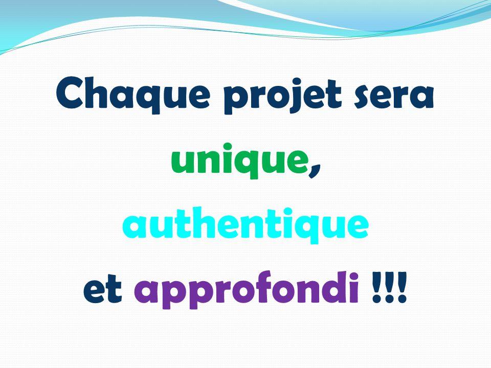 Chaque projet sera unique, authentique et approfondi !!!