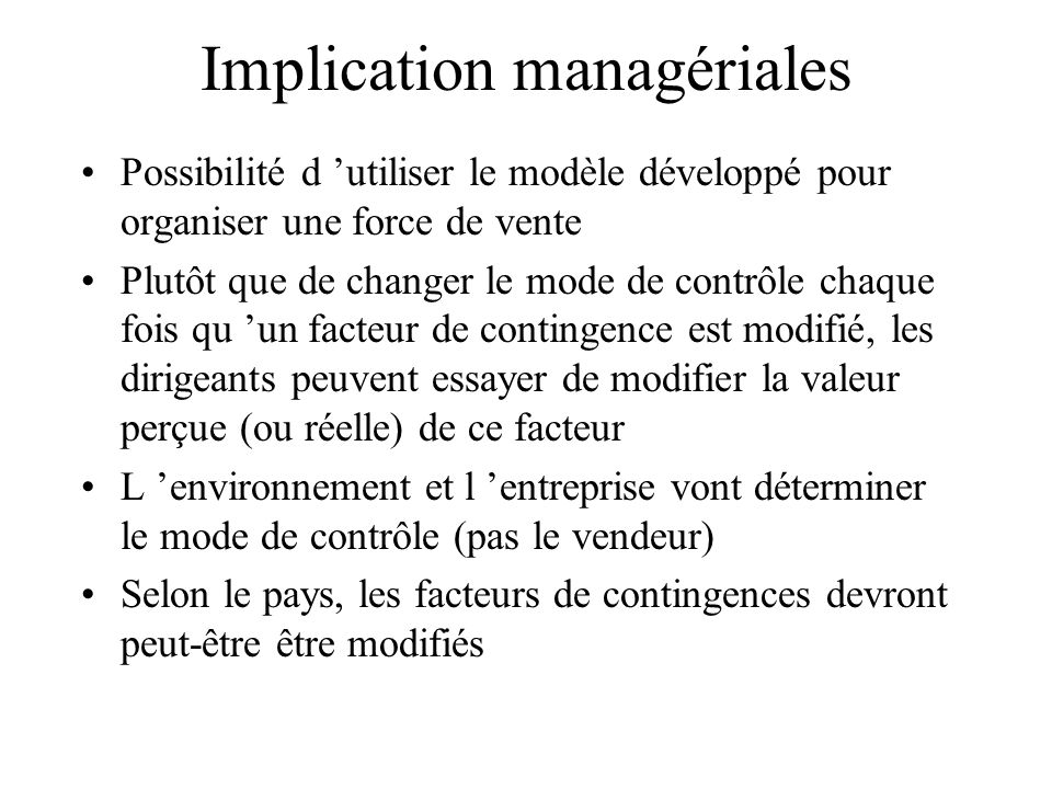Implication managériales