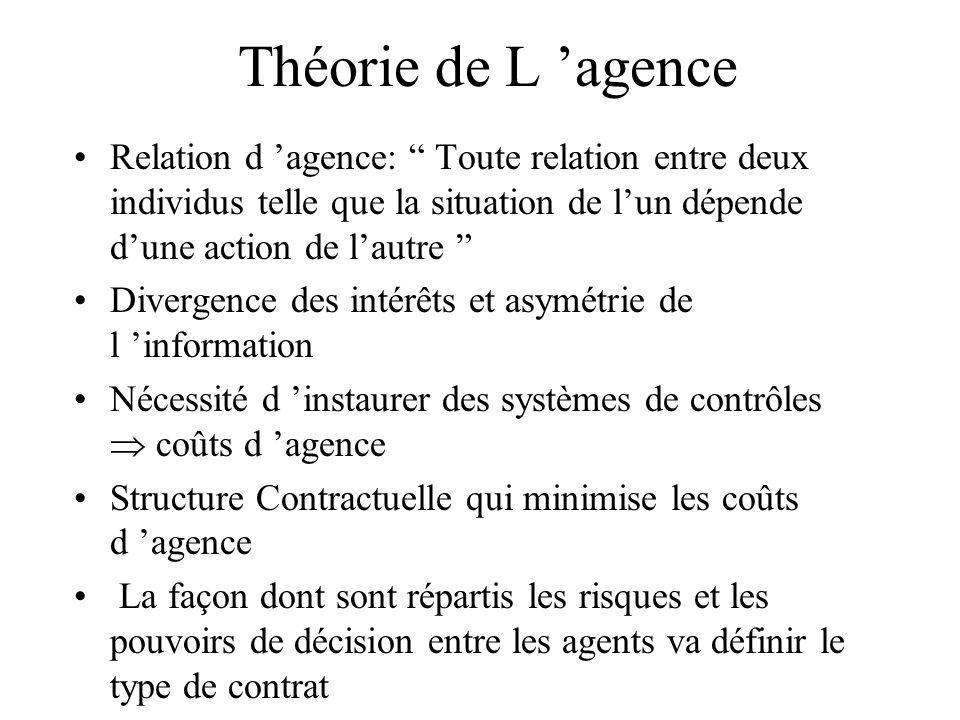 Théorie de L 'agence Relation d 'agence: Toute relation entre deux individus telle que la situation de l'un dépende d'une action de l'autre