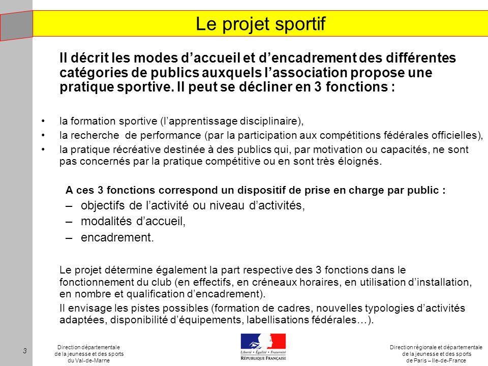 Le projet sportif