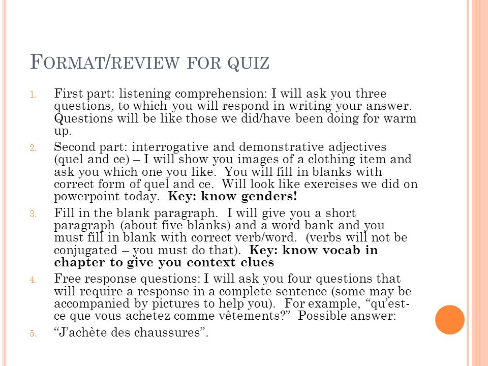 Format/review for quiz