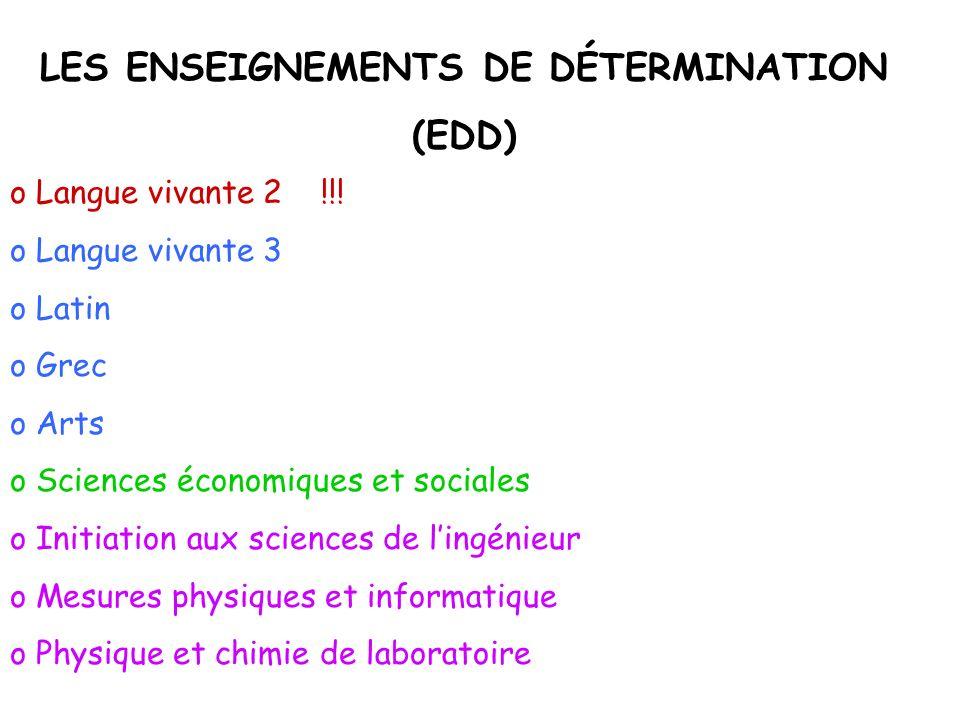 LES ENSEIGNEMENTS DE DÉTERMINATION
