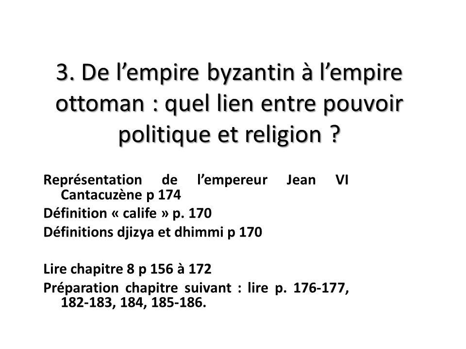 3. De l'empire byzantin à l'empire ottoman : quel lien entre pouvoir politique et religion