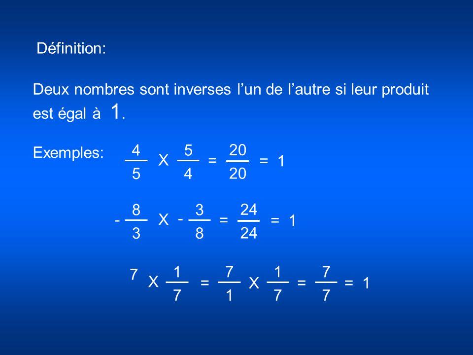 Définition: Deux nombres sont inverses l'un de l'autre si leur produit est égal à 1. Exemples: 4.