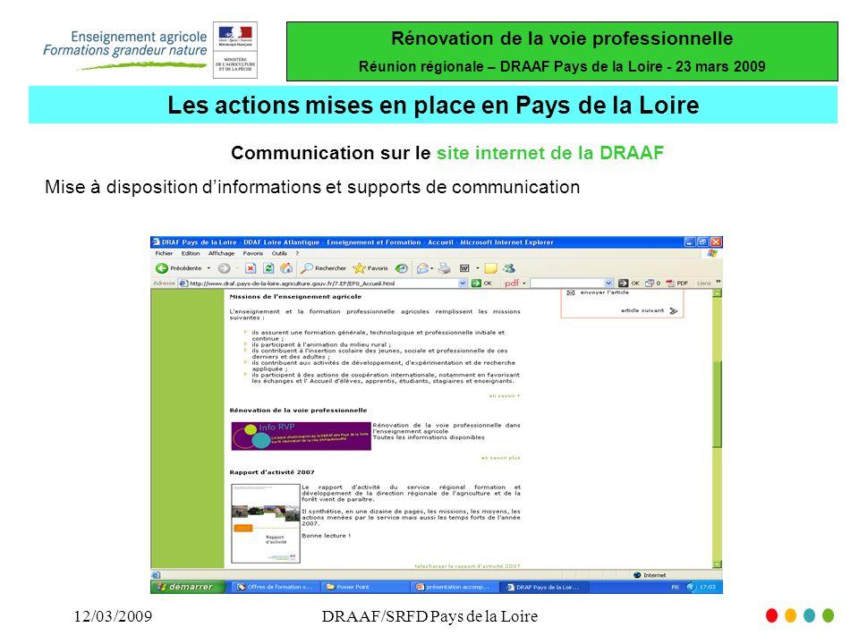 Les actions mises en place en Pays de la Loire