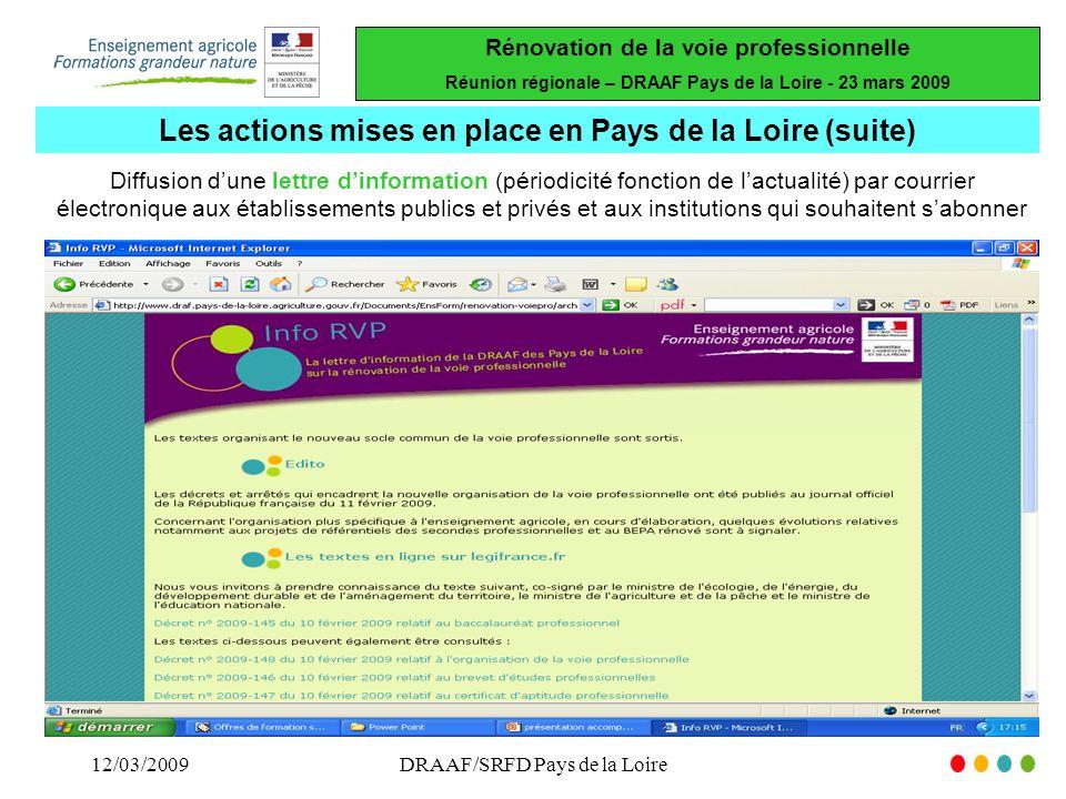 Les actions mises en place en Pays de la Loire (suite)