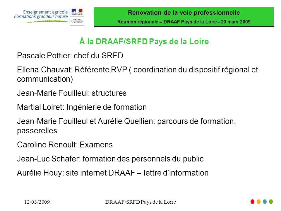 À la DRAAF/SRFD Pays de la Loire Pascale Pottier: chef du SRFD