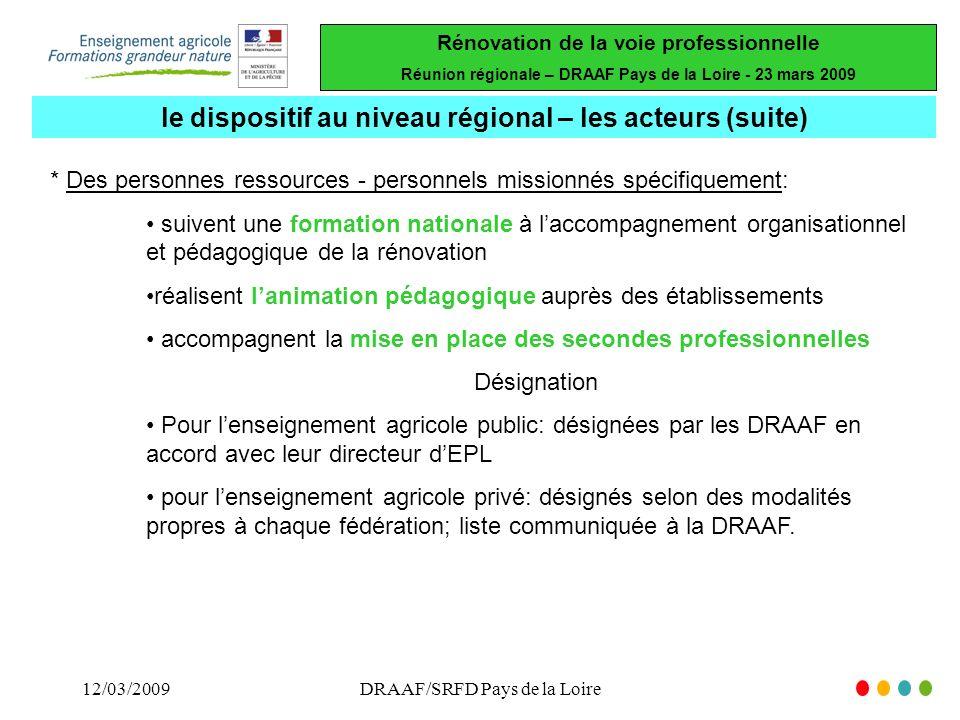 le dispositif au niveau régional – les acteurs (suite)