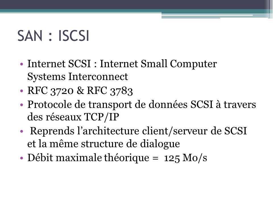 SAN : ISCSI Internet SCSI : Internet Small Computer Systems Interconnect. RFC 3720 & RFC 3783.