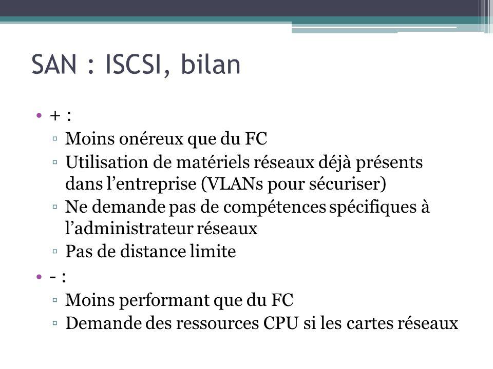 SAN : ISCSI, bilan + : - : Moins onéreux que du FC