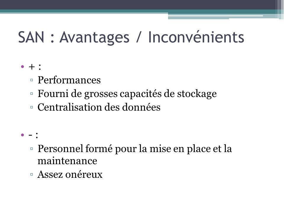 SAN : Avantages / Inconvénients