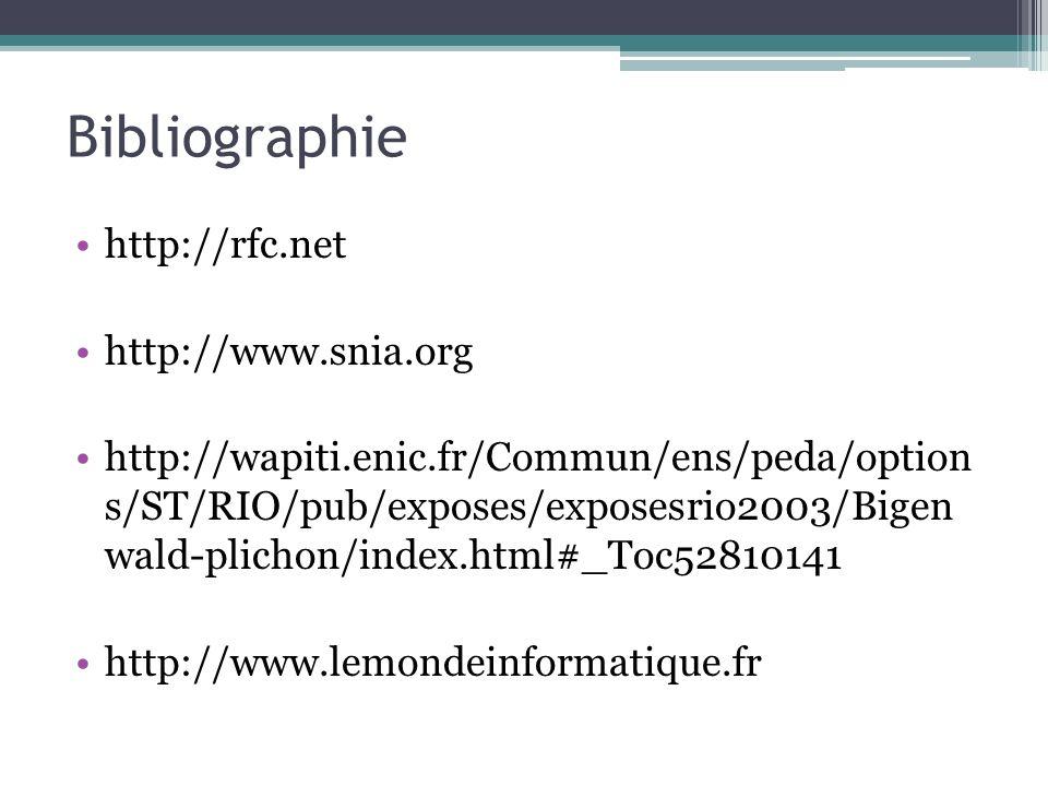 Bibliographie http://rfc.net http://www.snia.org