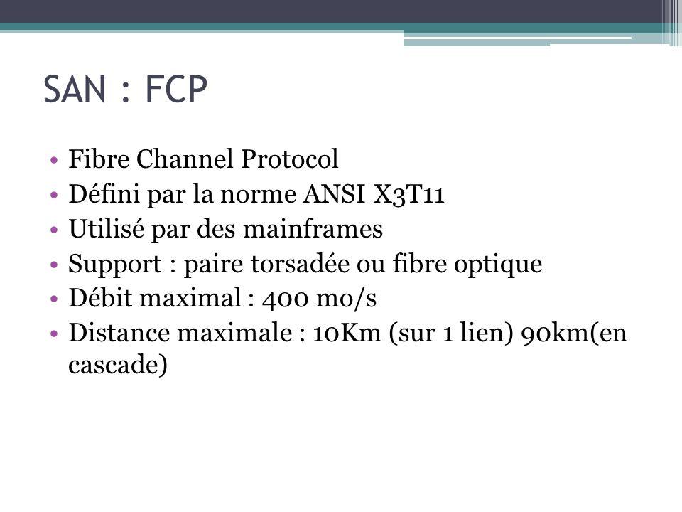 SAN : FCP Fibre Channel Protocol Défini par la norme ANSI X3T11