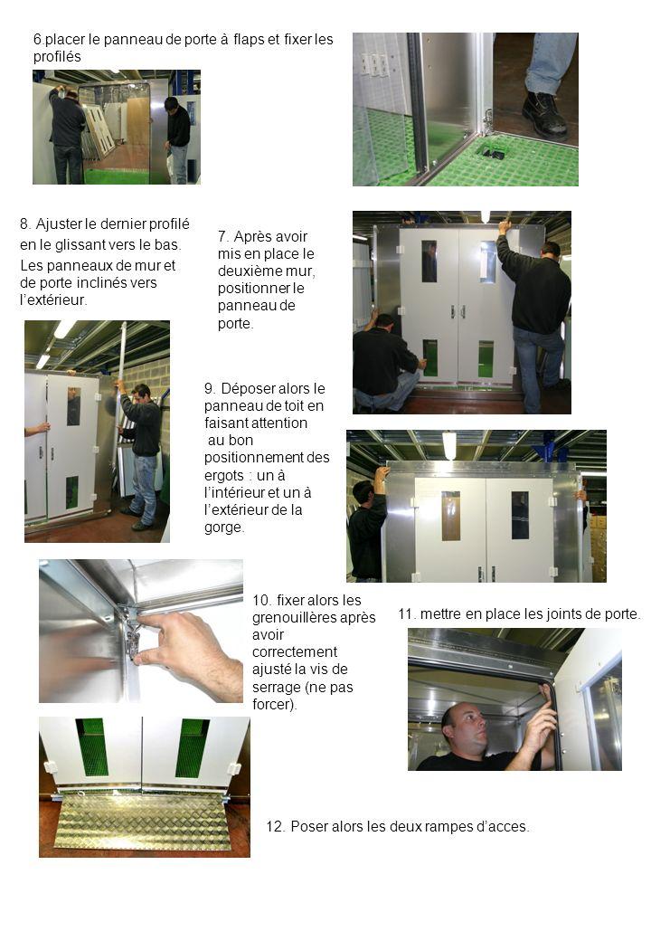 6.placer le panneau de porte à flaps et fixer les profilés