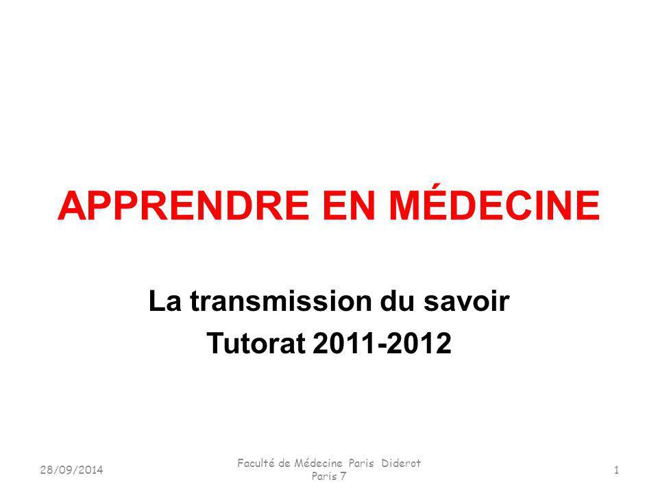 La transmission du savoir Tutorat 2011-2012