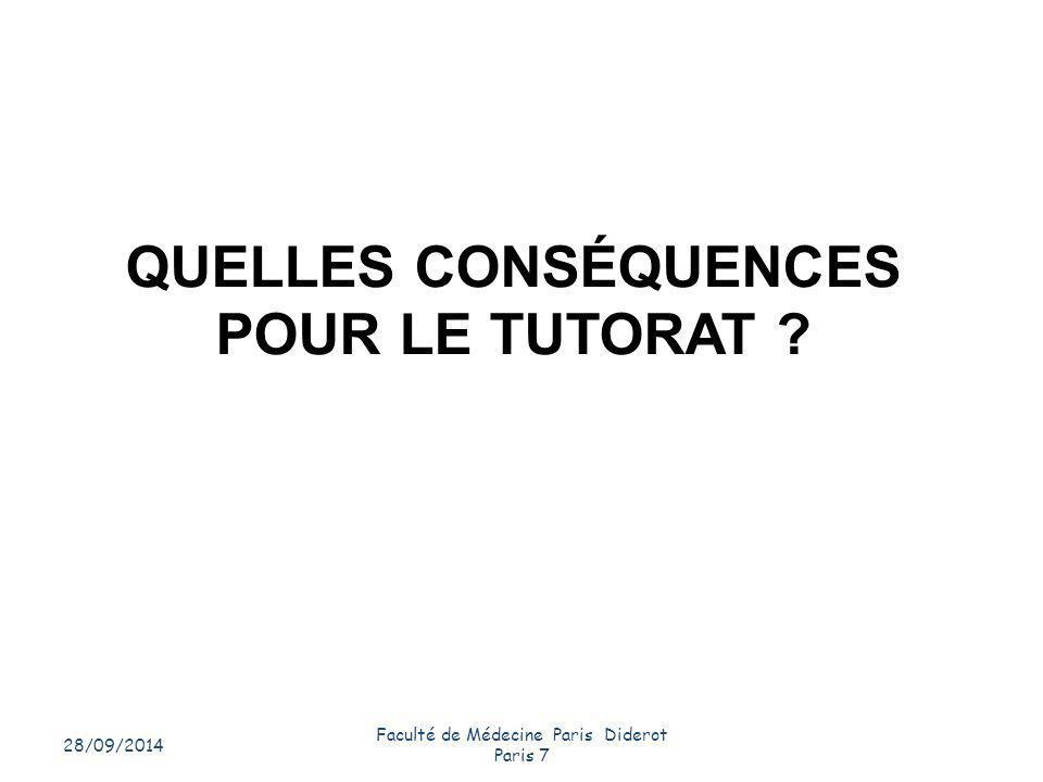 QUELLES CONSÉQUENCES POUR LE TUTORAT