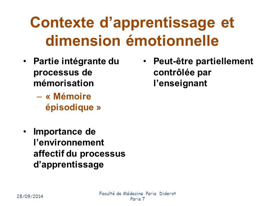 Contexte d'apprentissage et dimension émotionnelle