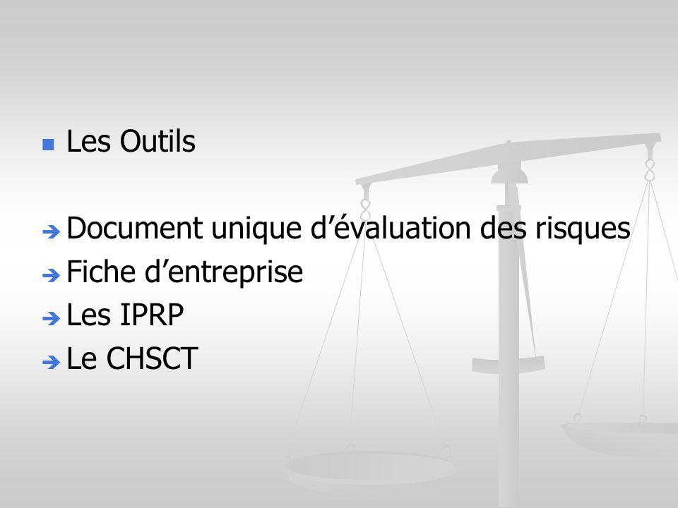Les Outils Document unique d'évaluation des risques Fiche d'entreprise Les IPRP Le CHSCT