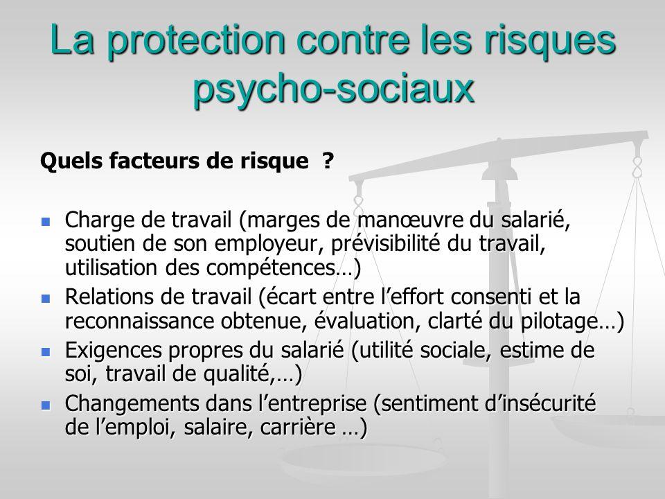 La protection contre les risques psycho-sociaux