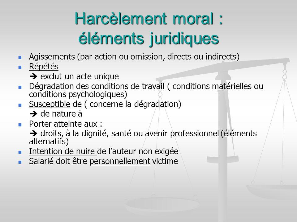 Harcèlement moral : éléments juridiques