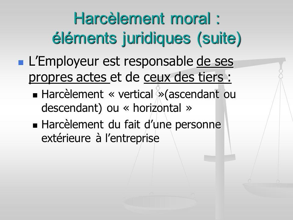 Harcèlement moral : éléments juridiques (suite)