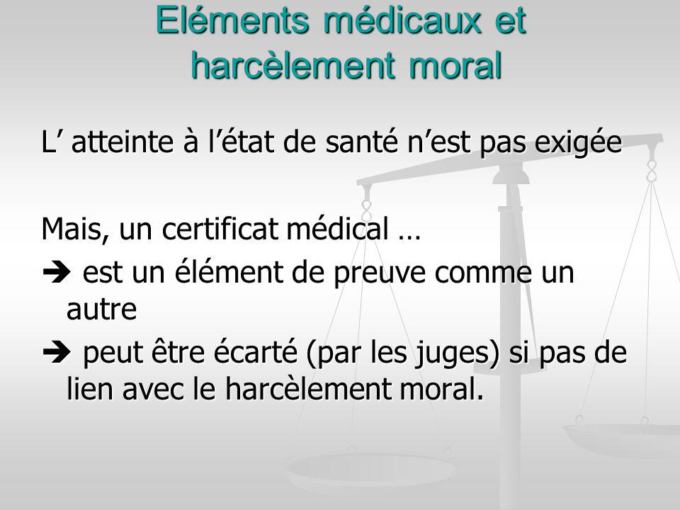 Eléments médicaux et harcèlement moral