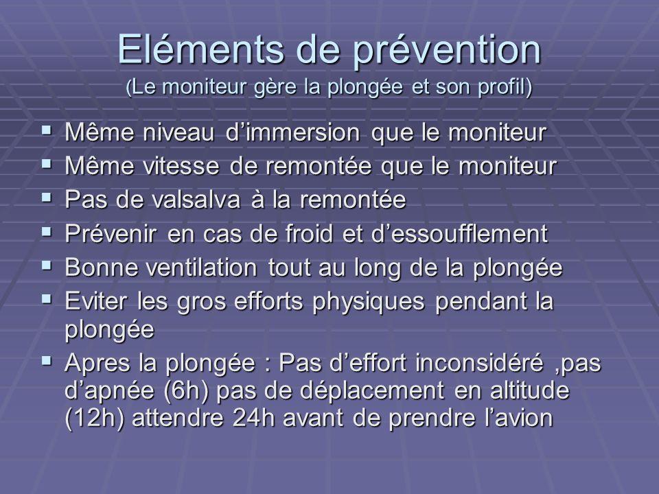 Eléments de prévention (Le moniteur gère la plongée et son profil)