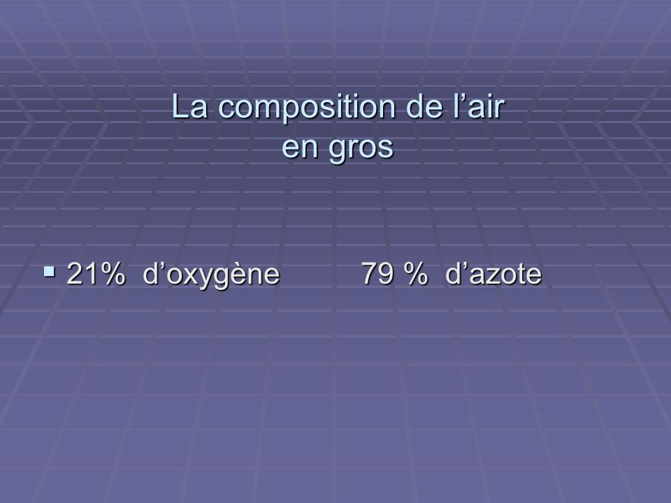 La composition de l'air en gros