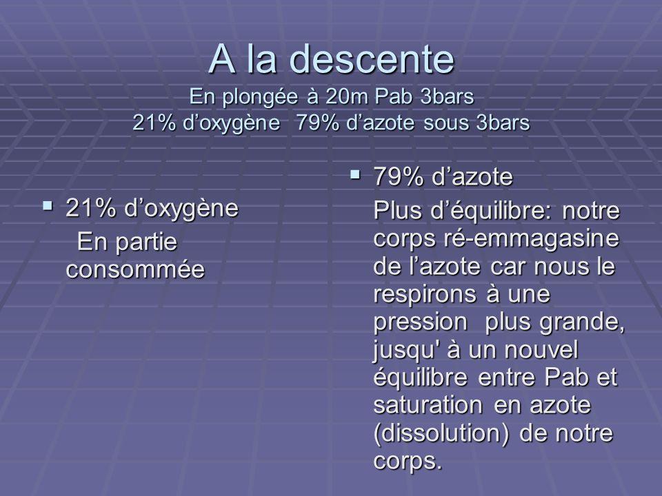 A la descente En plongée à 20m Pab 3bars 21% d'oxygène 79% d'azote sous 3bars