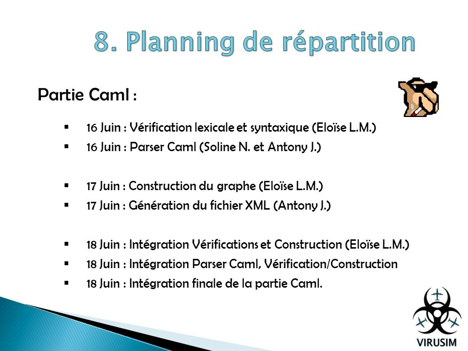 8. Planning de répartition