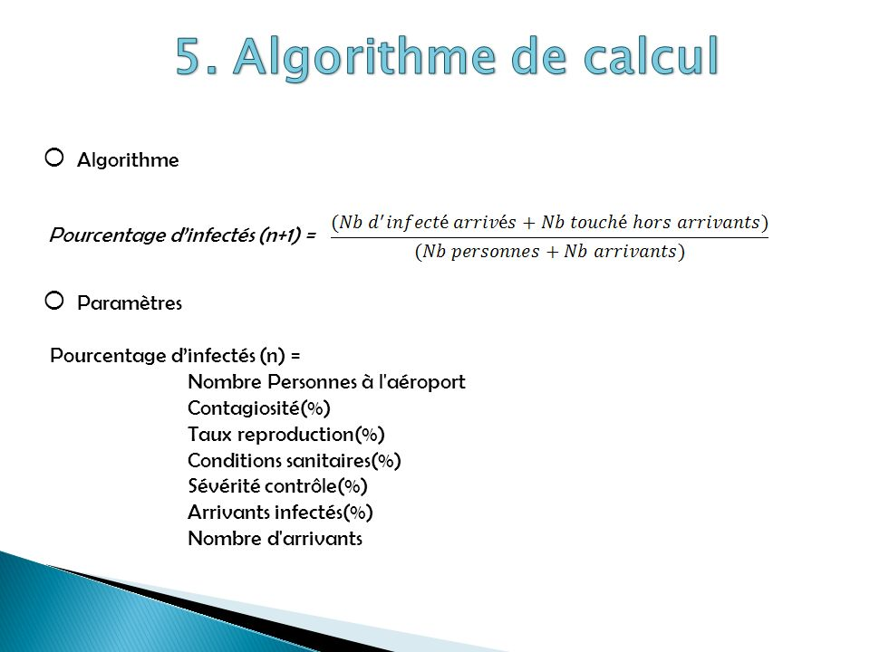 5. Algorithme de calcul Algorithme Pourcentage d'infectés (n+1) =