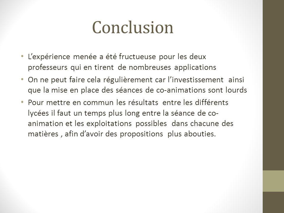 Conclusion L'expérience menée a été fructueuse pour les deux professeurs qui en tirent de nombreuses applications.