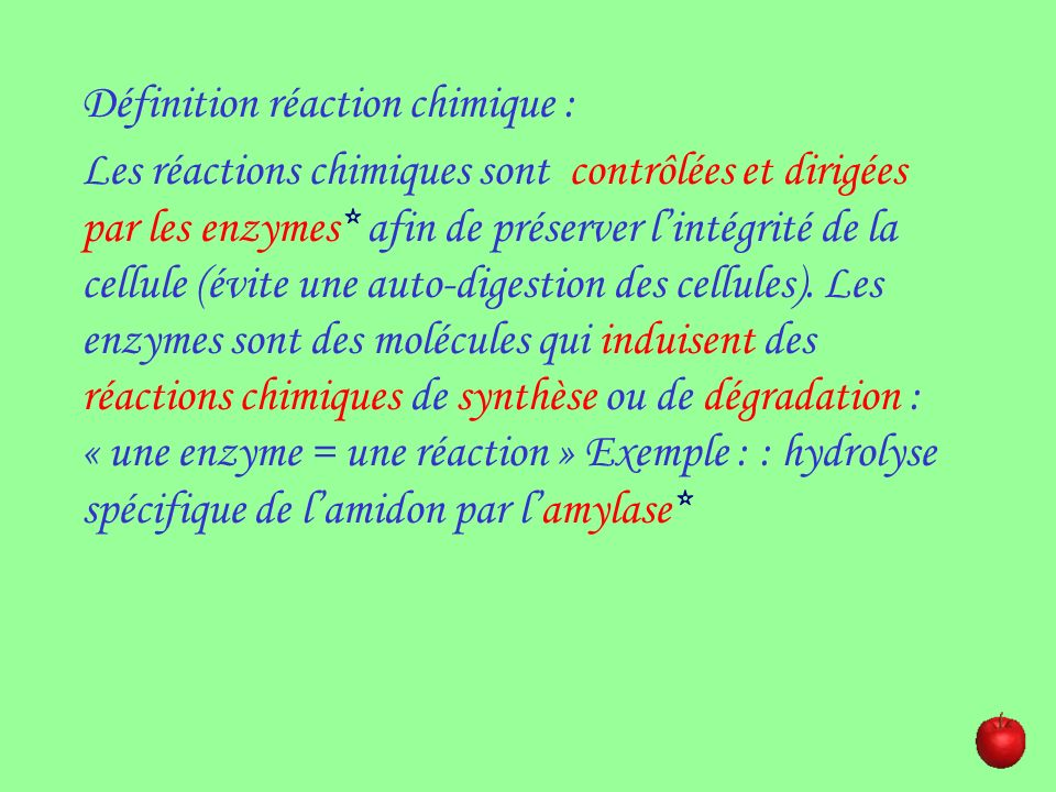 Définition réaction chimique :