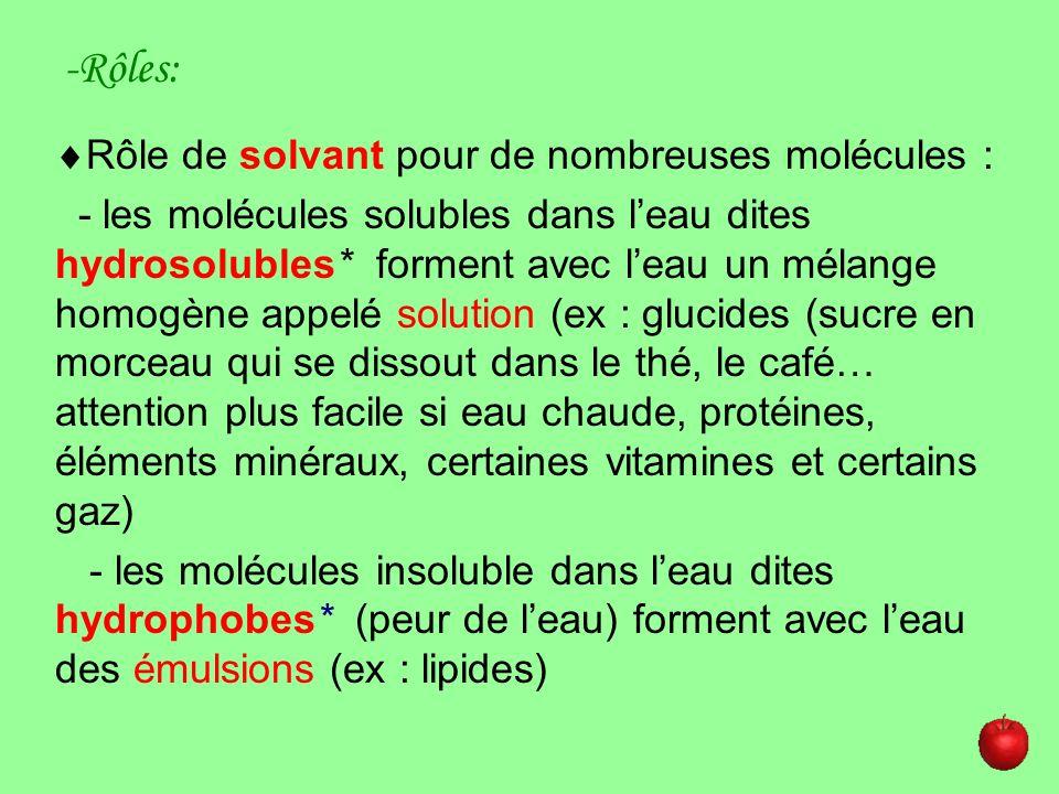 -Rôles: Rôle de solvant pour de nombreuses molécules :