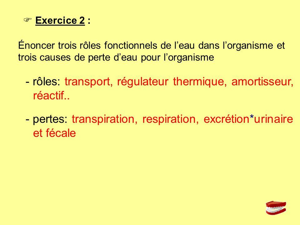 - rôles: transport, régulateur thermique, amortisseur, réactif..