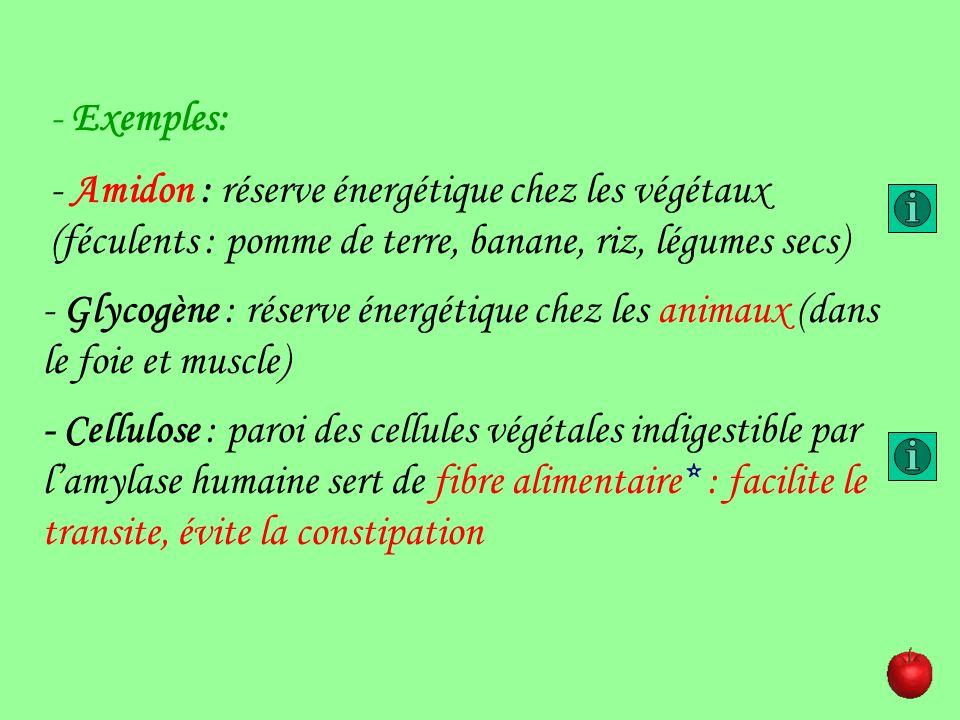 Exemples:- Amidon : réserve énergétique chez les végétaux (féculents : pomme de terre, banane, riz, légumes secs)