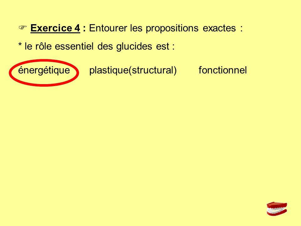  Exercice 4 : Entourer les propositions exactes :