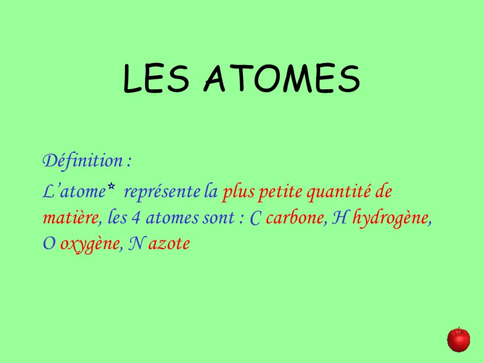 LES ATOMES Définition :