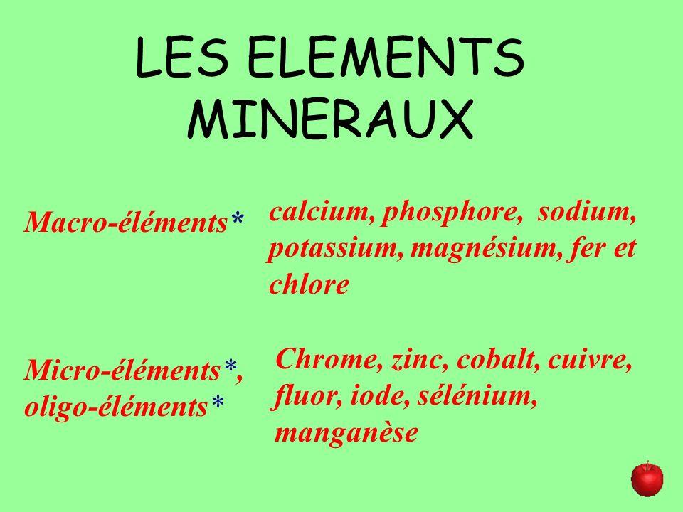 LES ELEMENTS MINERAUXcalcium, phosphore, sodium, potassium, magnésium, fer et chlore. Macro-éléments*