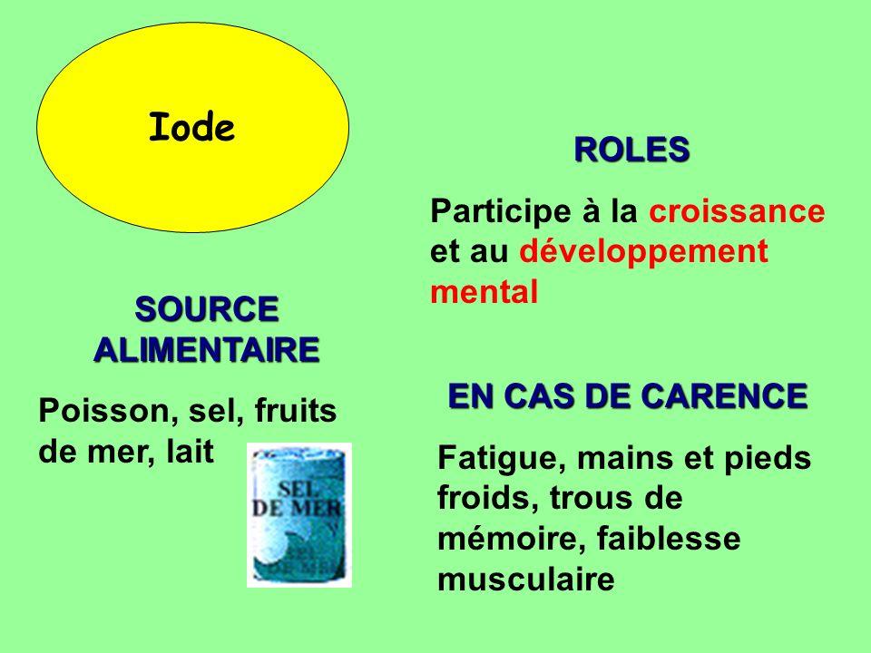 Iode ROLES Participe à la croissance et au développement mental
