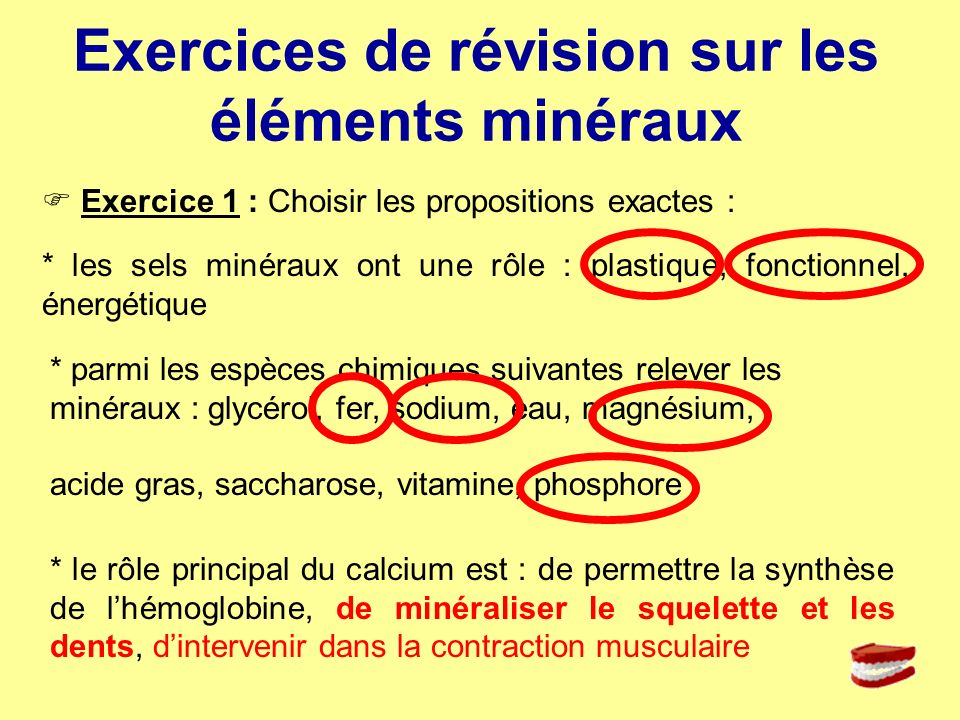 Exercices de révision sur les éléments minéraux