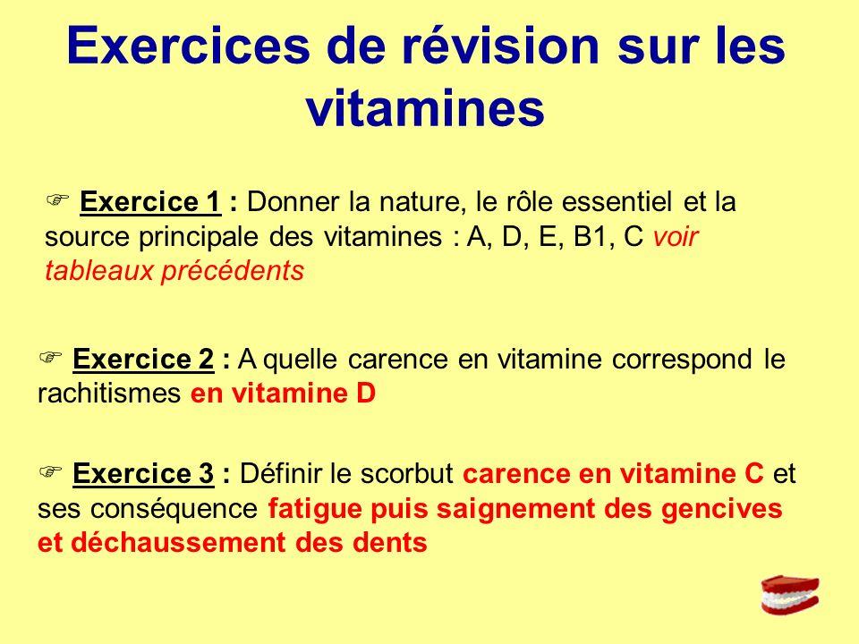 Exercices de révision sur les vitamines