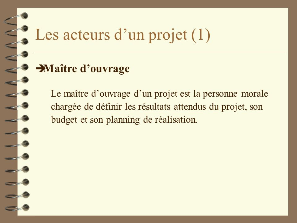 Les acteurs d'un projet (1)