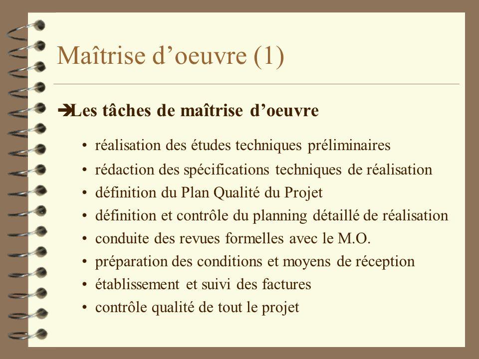 Maîtrise d'oeuvre (1) Les tâches de maîtrise d'oeuvre