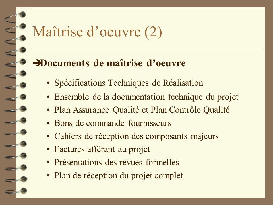 Maîtrise d'oeuvre (2) Documents de maîtrise d'oeuvre