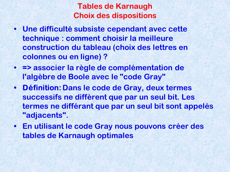 Tables de Karnaugh Choix des dispositions