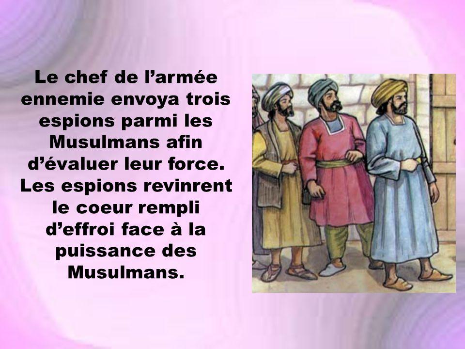 Le chef de l'armée ennemie envoya trois espions parmi les Musulmans afin d'évaluer leur force.