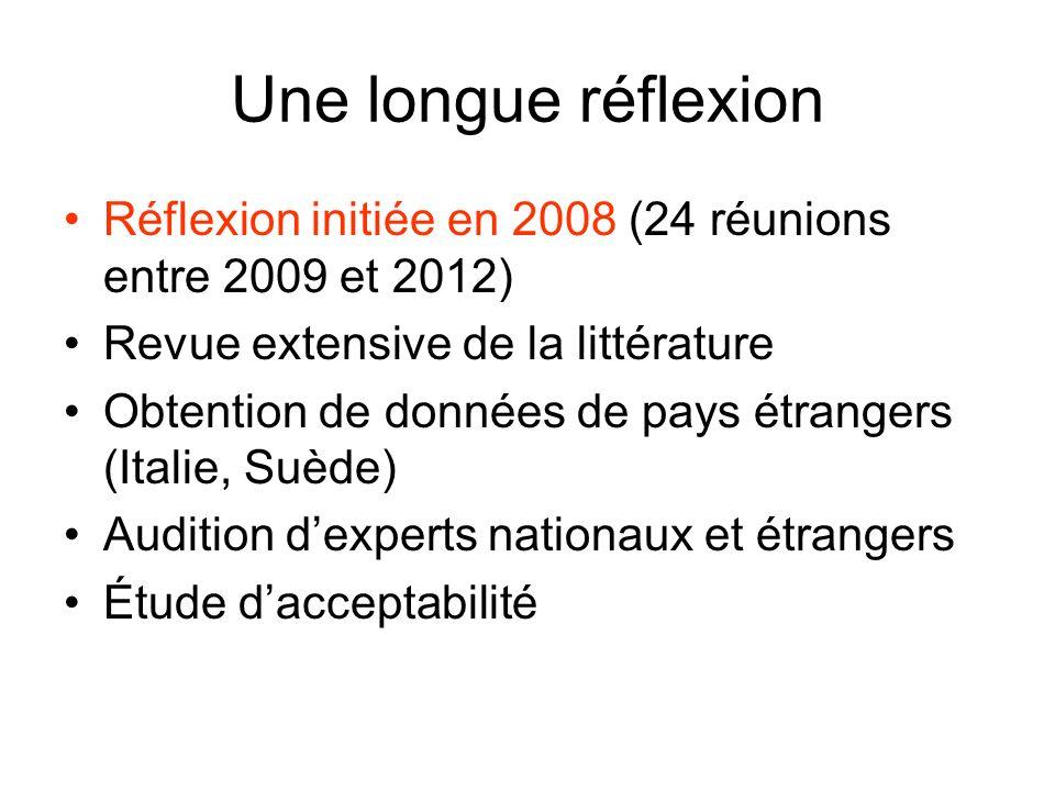 Une longue réflexion Réflexion initiée en 2008 (24 réunions entre 2009 et 2012) Revue extensive de la littérature.