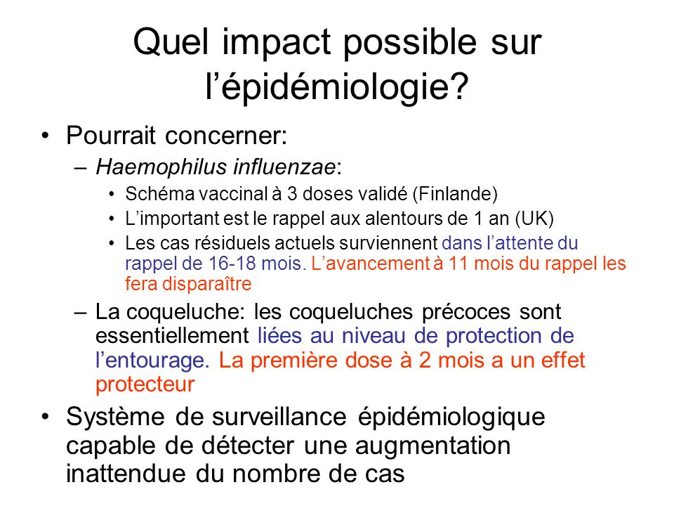 Quel impact possible sur l'épidémiologie