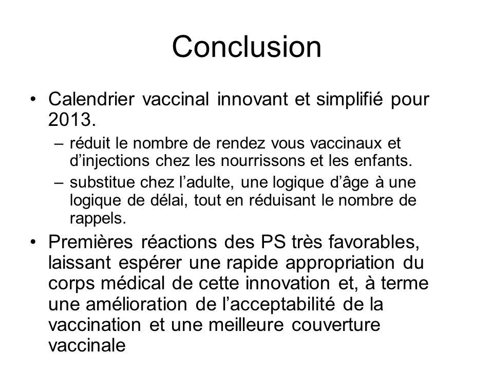 Conclusion Calendrier vaccinal innovant et simplifié pour 2013.